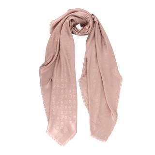 Louis Vuitton Denim Monogram Natural Silk & Wool Shawl