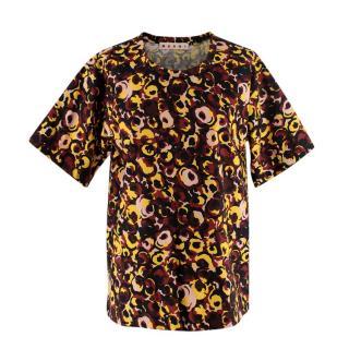 Marni Floral Tonal Poplin Short Sleeve Top