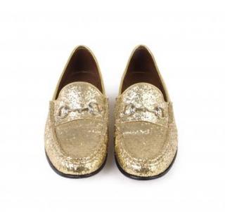 Gucci 1953 Glitter & Leather Horsebit Loafers