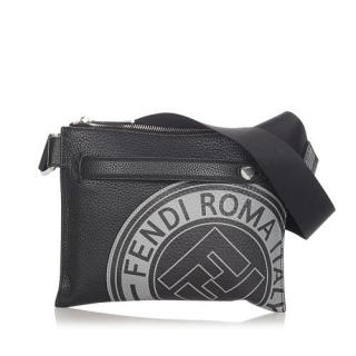 Fendi Logo Stamp Flat Messenger Printed Leather