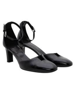 Hermes Black Glossy Epsom Leather 70mm Block Heel Sandals