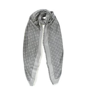 Louis Vuitton Denim Pearl Grey Monogram Silk & Wool Shawl