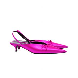 Balenciaga Pink Satin Slingback Knife Mules