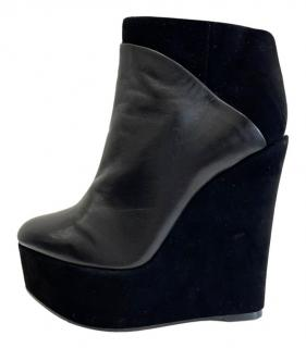 Celine Black Suede/Leather Wedge Ankle Boots