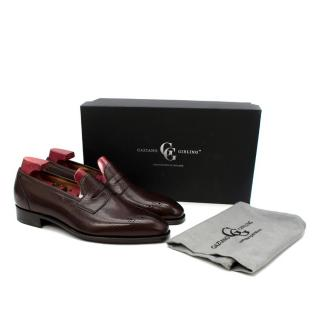 Gaziano Girling Crompton Dark Brown Grain Leather Penny Loafers