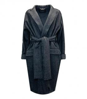 Dolce & Gabbana Grey Virgin Wool Herringbone Wrap Coat