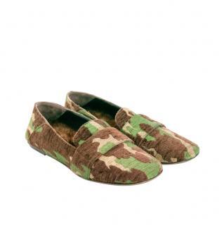 Max Mara Mink Fur & Fabric Camo Moccasin Loafers