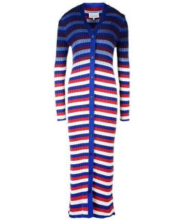 Maison Margiela Striped Ribbed Knit Longline Cardigan
