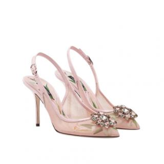 Dolce & Gabbana Pink Mesh Slingback Crystal Sandals