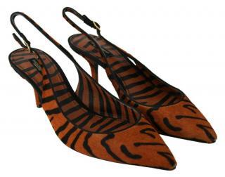 Dolce & Gabbana Pony Hair Tiger Slingback Sandals