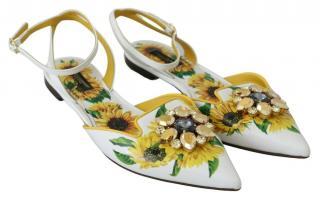 Dolce & Gabbana Sunflower Print Slinback Sandals