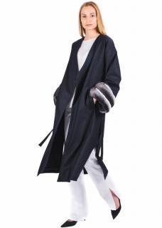 FurbySD Chinchilla Fur Trim Cashmere Wrap Coat