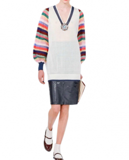 Chanel Silk & Cashmere Ivory & Multicolour Long Sleeve V-Neck Sweater