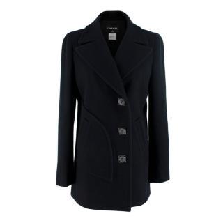 Chanel Black Wool Asymmetric Byzance Button Embellished Coat