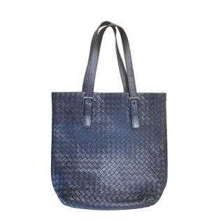 Bottega Veneta Blue Intrecciato Leather Shoulder Bag