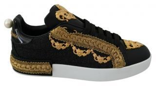 Dolce & Gabbana Embellished Black, Grey & Gold Sneakers