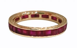 Bespoke princess cut ruby eternity ring