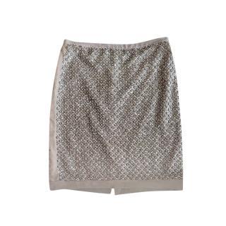 Oscar De La Renta Beige Tonal Embellished Skirt