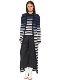 Maison Margiela Striped Cotton Rib Knit Long Cardigan