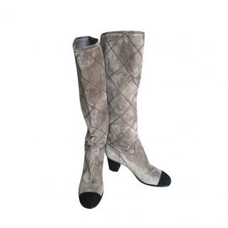Chanel Two-Tone Diamond Stitch Heeled Long Boots