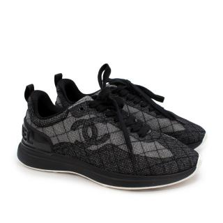 Chanel Black & Grey Mesh Embroidered CC Sneakers