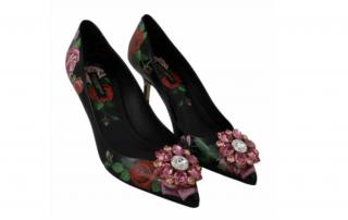Dolce & Gabbana Black Rose Print Crystal Pumps