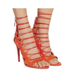 Aquazzura Clementine Amazon Lace-up Elaphe Sandals