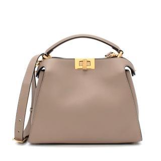 Fendi Peekaboo Essentially Beige Dove Grey Leather Bag