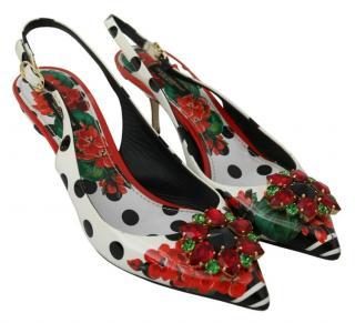 Dolce & Gabbana Polka Dot Crystal Slingback Sandals
