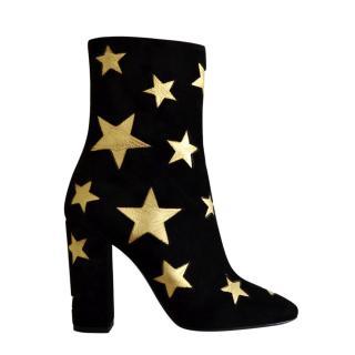 Saint Laurent Black Suede Star Lou Ankle Boots