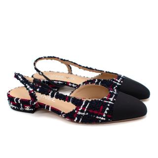Chanel Tweed Navy/Red/White Slingback Flats
