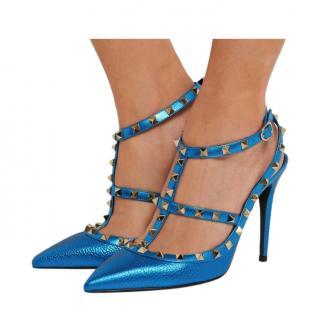 Valentino Metallic Blue Rockstud Sandals
