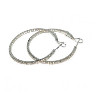 Bespoke 18ct White Gold Diamond Hoop Earrings