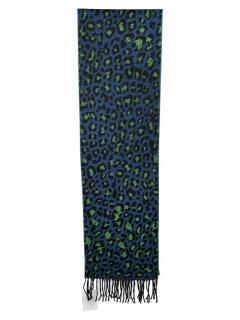 Paul Smith Blue & Green Virgin Wool Leopard Scarf
