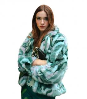 DVF Green Tracy Faux Fur Coat
