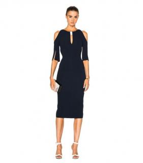 Roland Mouret Keeley Blue Cold Shoulder Dress