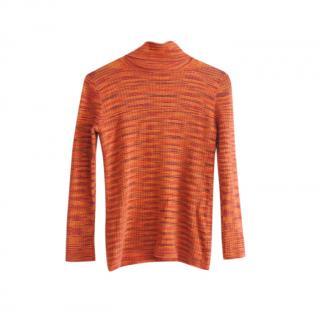 M Missoni Orange Knit High Neck Sweater