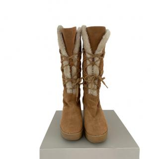 Michael Michael Kors Faux Shearling Lined Suede Boots