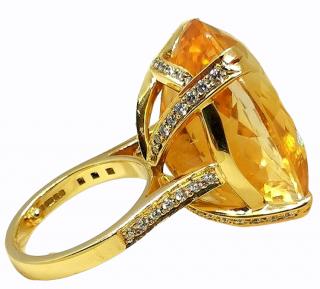 Bespoke 18ct Yellow Gold Diamond Set Citrine Cocktail Ring