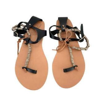 Ancient Greek Sandals Flat Leather Beaded Sandals