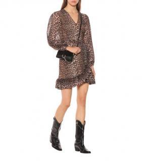 Ganni Leopard Print Mini Ruffled Wrap Dress