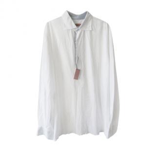 Isaia White Piquet Cotton Jersey Men's Shirt