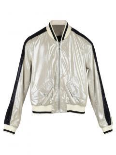 Just Cavalli Bi-Colour Leather Bomber Jacket