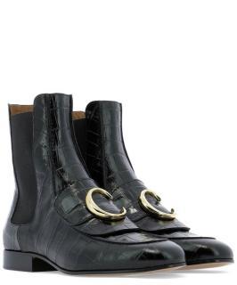 Chloe Black Croc Embossed C Chelsea Boots