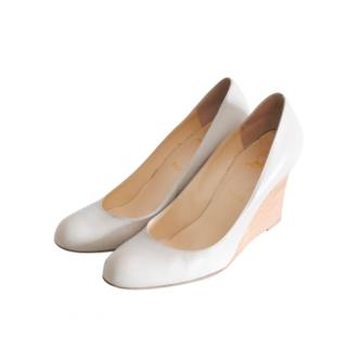 Christian Louboutin White Leather Wedge Pumps