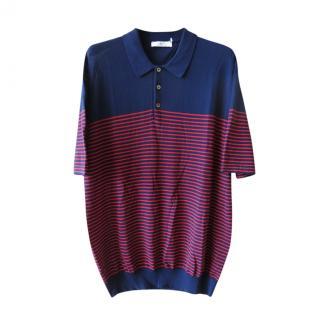 Mr Porter Blue & Red Striped Polo Shirt