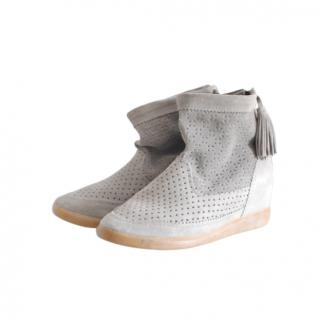 Isabel Marant Grey Suede Fringed Booties