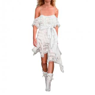 Philosophy di Lorenzo Serafini Striped Ivory Asymmetric Dress