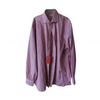 Kiton Striped Cotton Hand Tailored Shirt