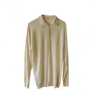 Zilli Peach Silk Knit Half Button Sweater